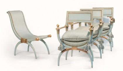 Ensemble de sièges à l'antique de la suite Windsor, provenant du Ritz Paris © Artcurial